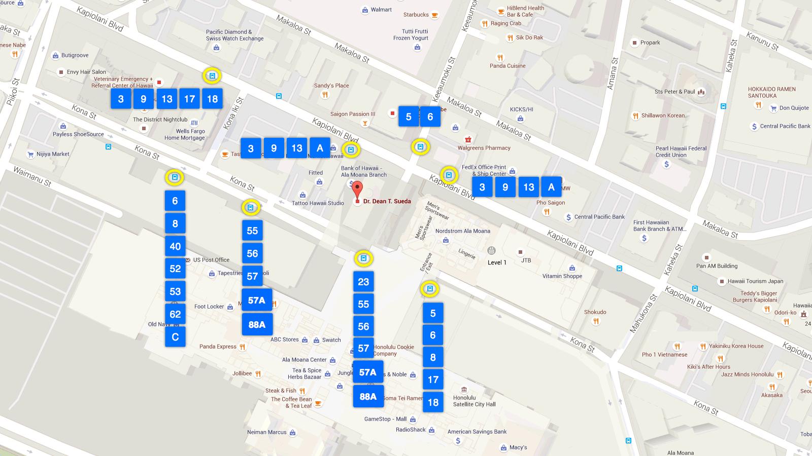 map of Ala Moana bus stops